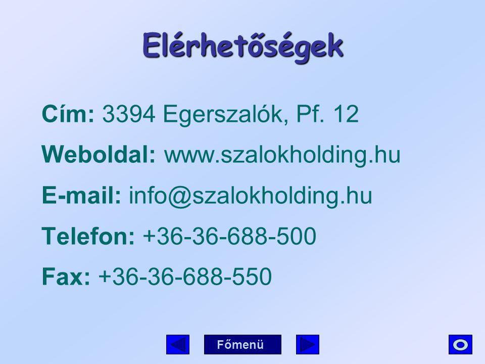 Elérhetőségek Cím: 3394 Egerszalók, Pf. 12