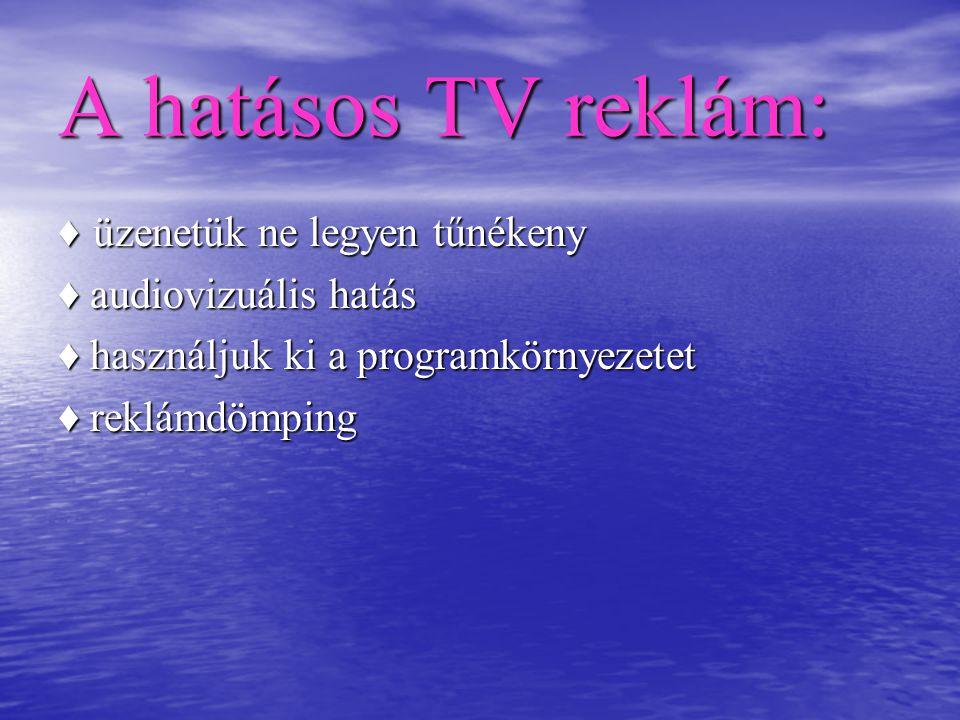 A hatásos TV reklám: ♦ üzenetük ne legyen tűnékeny