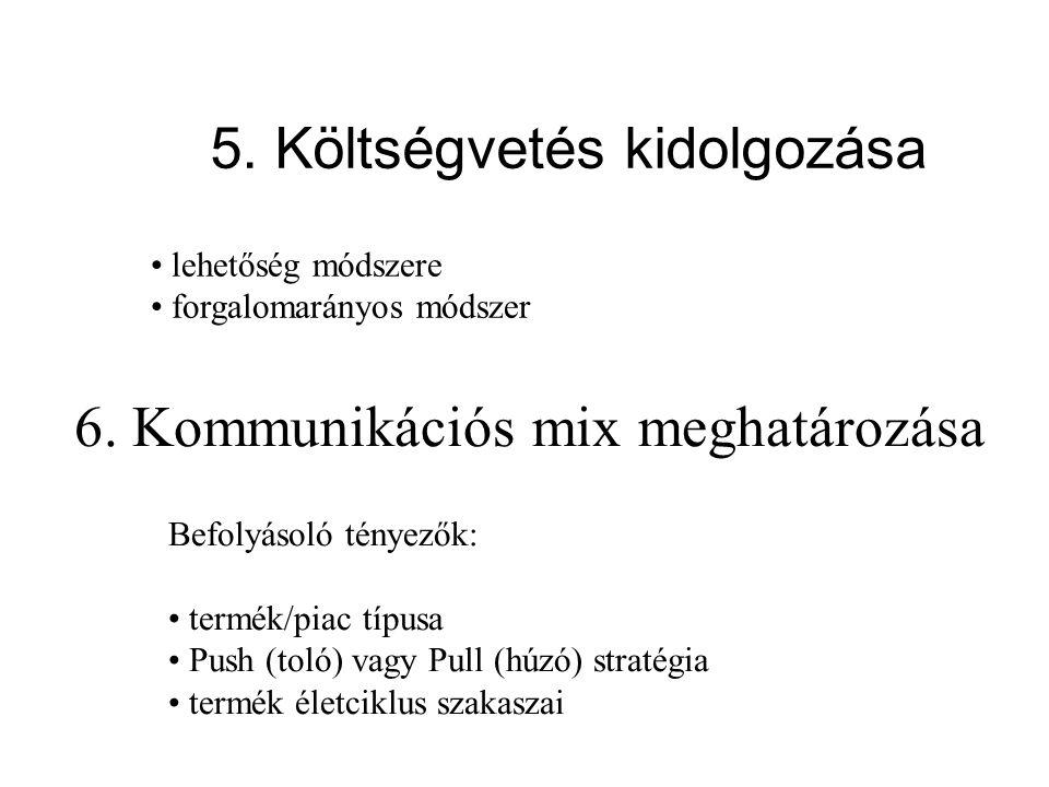 5. Költségvetés kidolgozása
