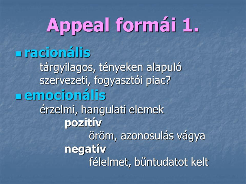 Appeal formái 1. racionális emocionális tárgyilagos, tényeken alapuló