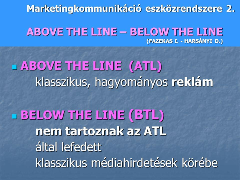 klasszikus, hagyományos reklám BELOW THE LINE (BTL) által lefedett