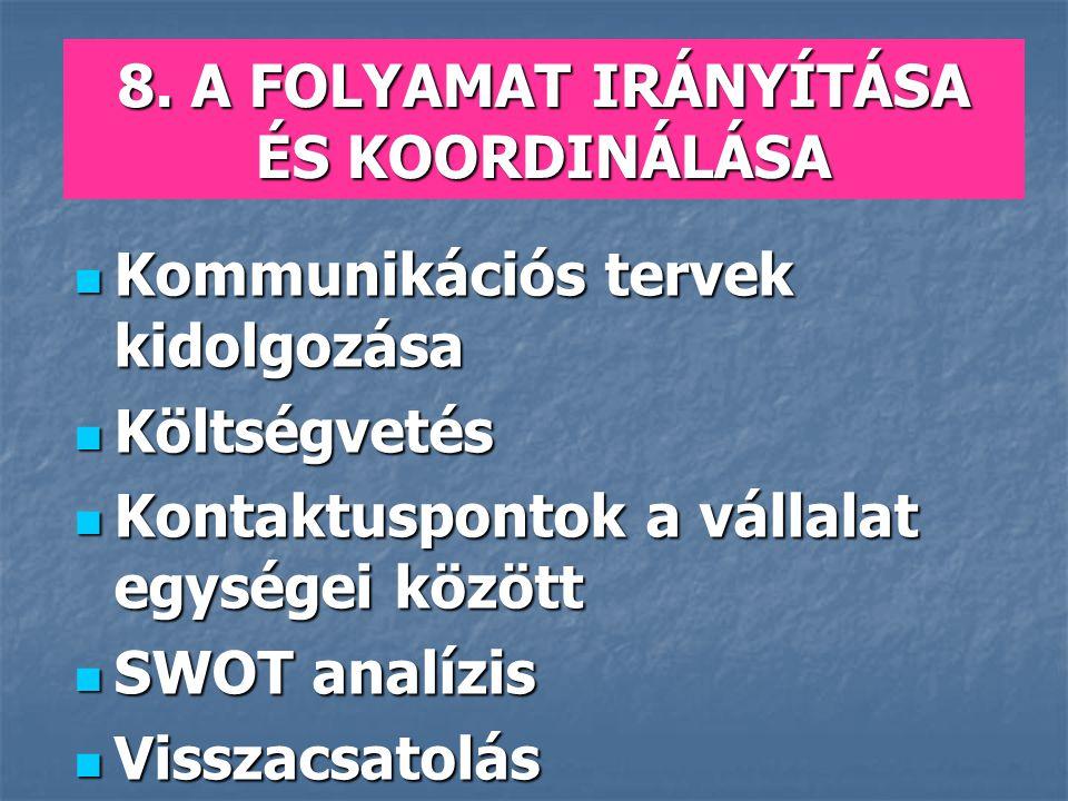 8. A FOLYAMAT IRÁNYÍTÁSA ÉS KOORDINÁLÁSA