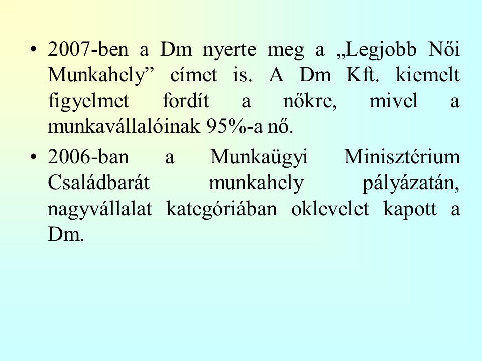"""2007-ben a Dm nyerte meg a """"Legjobb Női Munkahely címet is. A Dm Kft"""