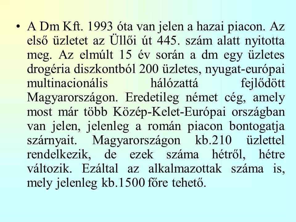 A Dm Kft. 1993 óta van jelen a hazai piacon