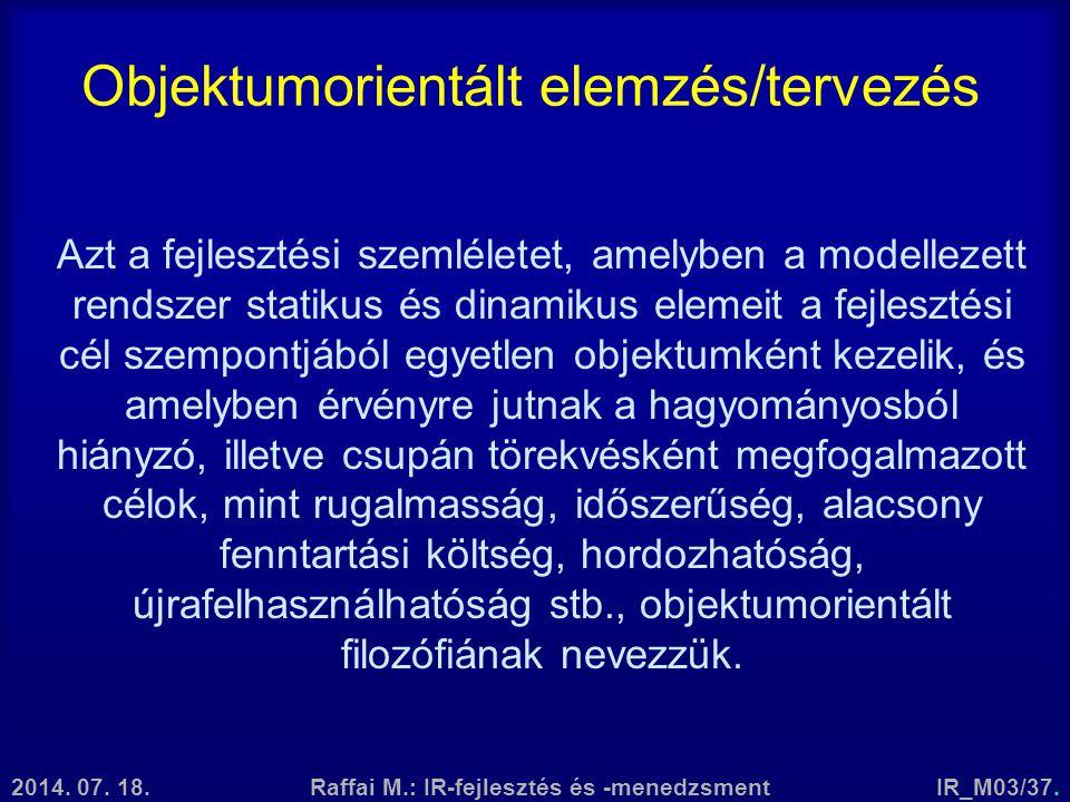 Objektumorientált elemzés/tervezés