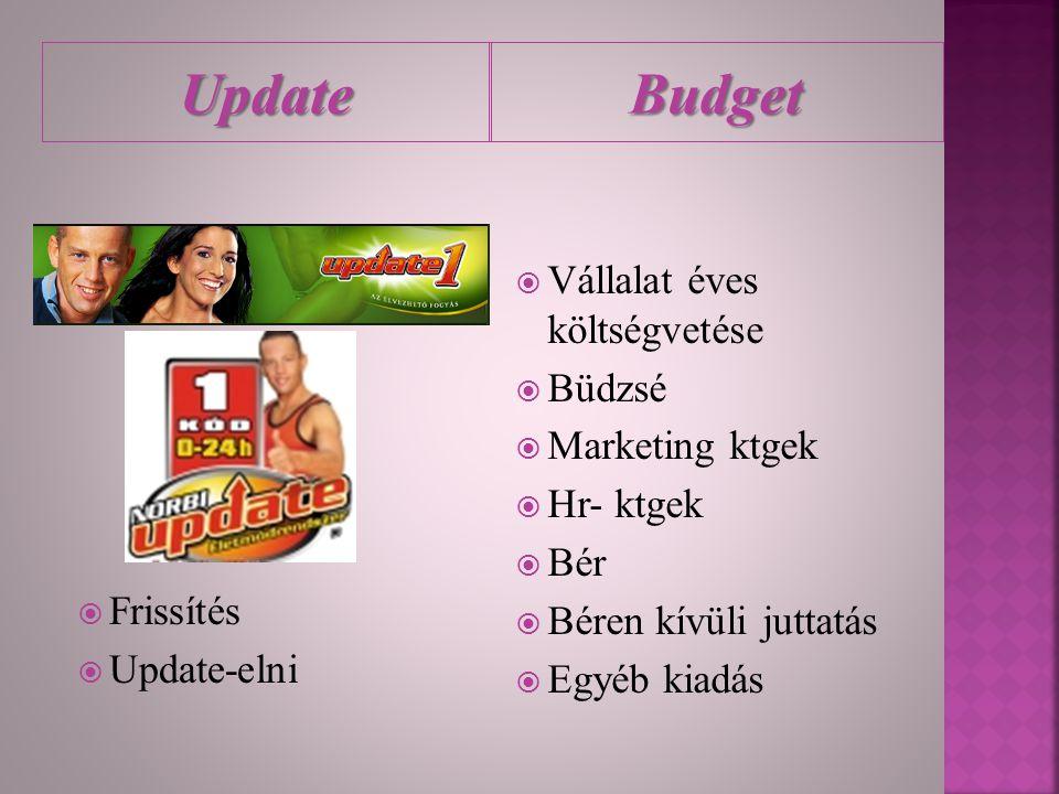 Update Budget Vállalat éves költségvetése Büdzsé Marketing ktgek