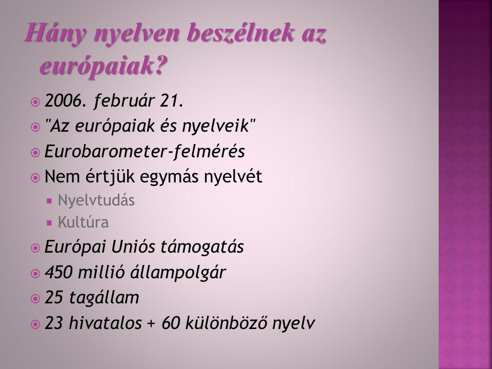 Hány nyelven beszélnek az európaiak