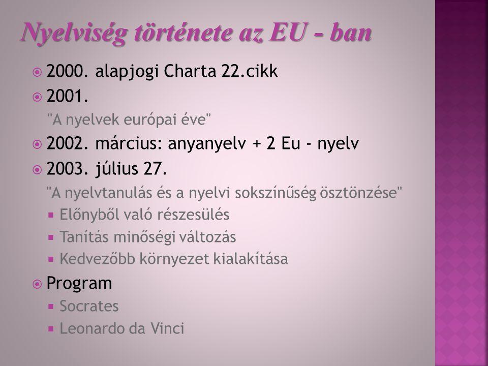 Nyelviség története az EU - ban