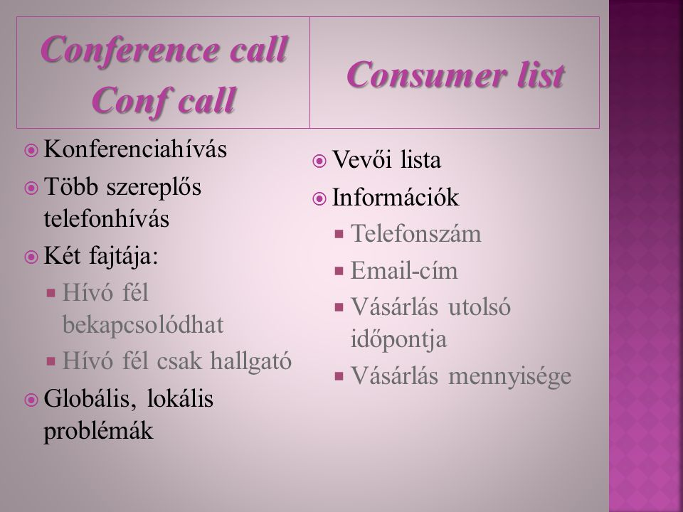 Conference call Conf call Consumer list