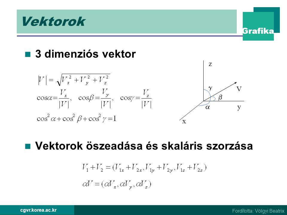 Vektorok 3 dimenziós vektor Vektorok öszeadása és skaláris szorzása 