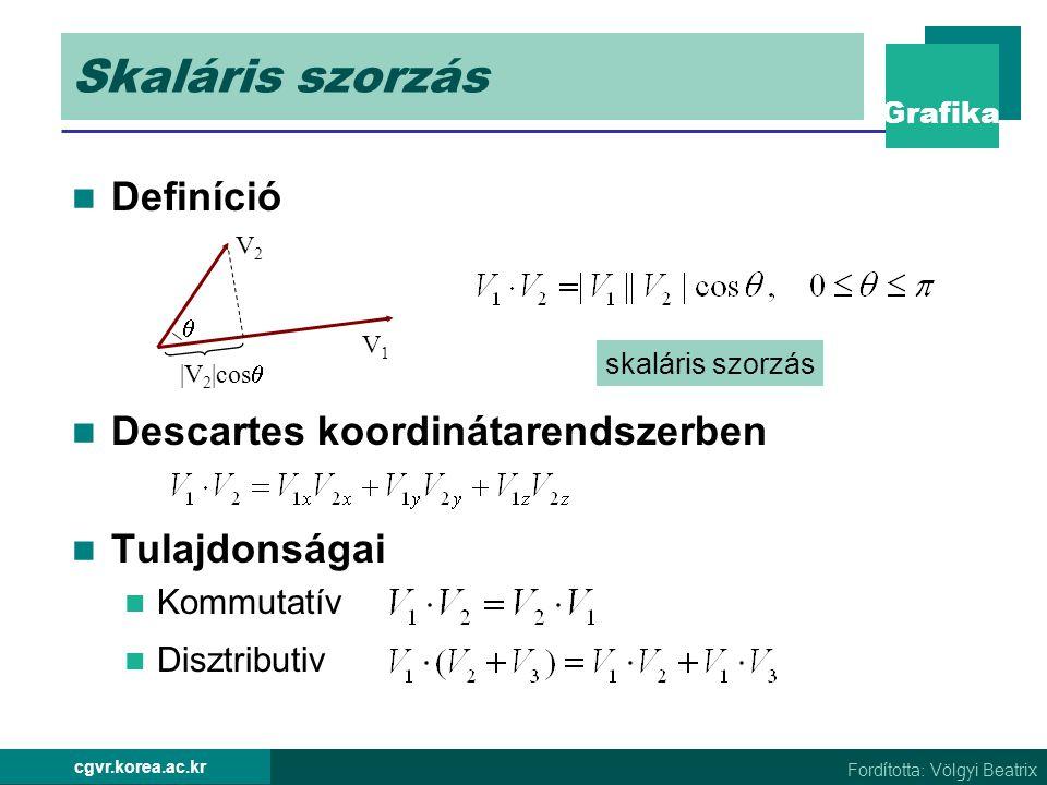 Skaláris szorzás Definíció Descartes koordinátarendszerben
