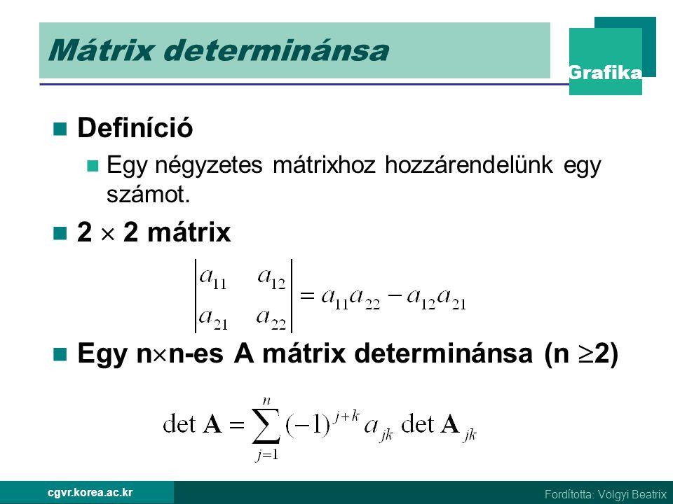 Mátrix determinánsa Definíció 2  2 mátrix
