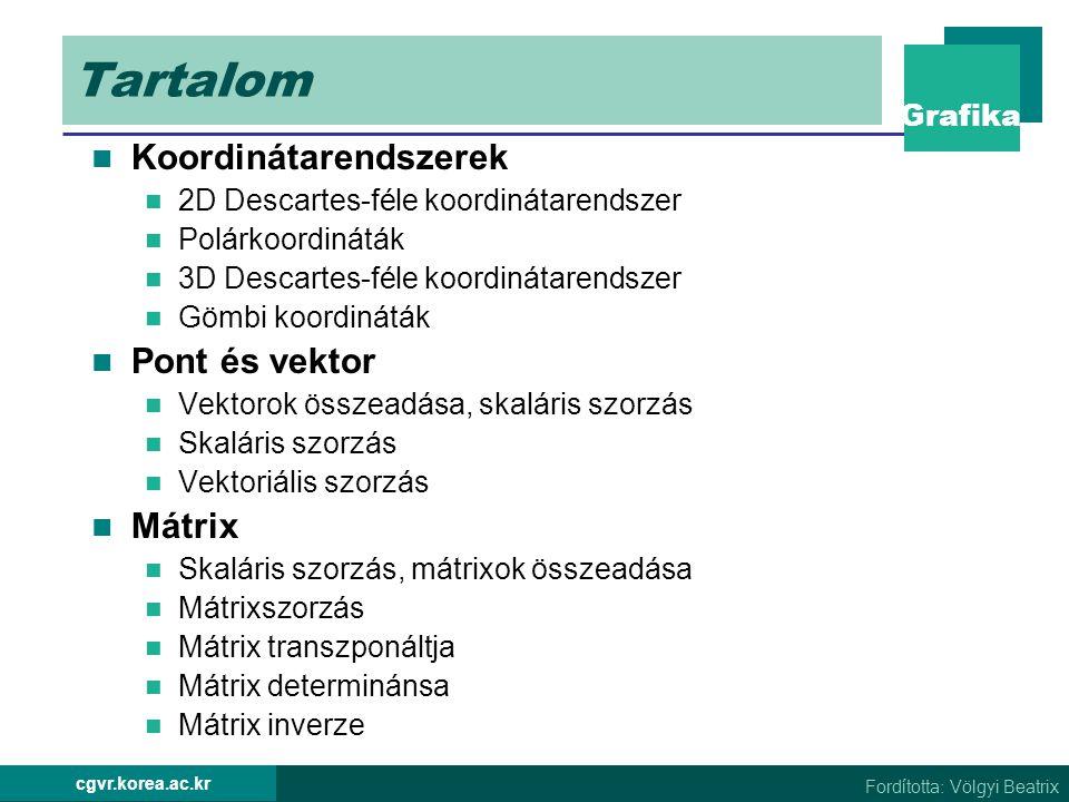 Tartalom Koordinátarendszerek Pont és vektor Mátrix