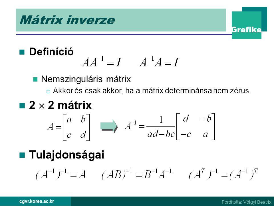 Mátrix inverze 2  2 mátrix Tulajdonságai Definíció