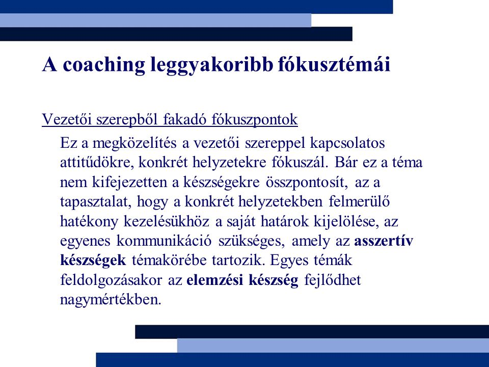 A coaching leggyakoribb fókusztémái