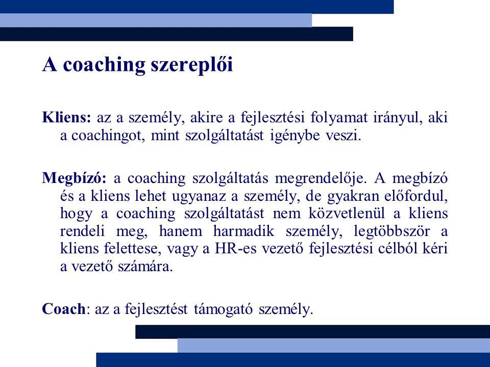 A coaching szereplői Kliens: az a személy, akire a fejlesztési folyamat irányul, aki a coachingot, mint szolgáltatást igénybe veszi.