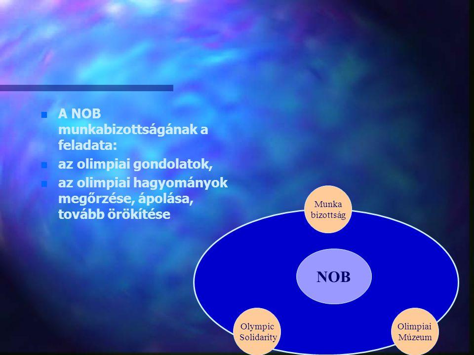NOB A NOB munkabizottságának a feladata: az olimpiai gondolatok,