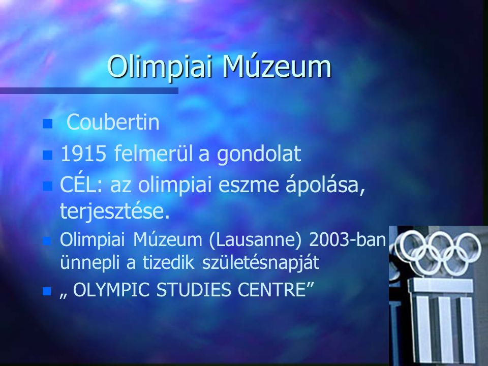 Olimpiai Múzeum Coubertin 1915 felmerül a gondolat