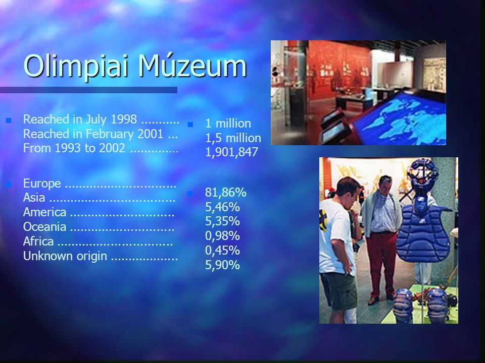 Olimpiai Múzeum Reached in July 1998 ........... Reached in February 2001 ... From 1993 to 2002 ...........…