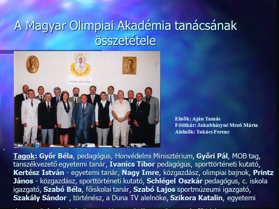A Magyar Olimpiai Akadémia tanácsának összetétele