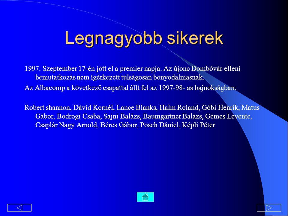 Legnagyobb sikerek 1997. Szeptember 17-én jött el a premier napja. Az újonc Dombóvár elleni bemutatkozás nem ígérkezett túlságosan bonyodalmasnak.