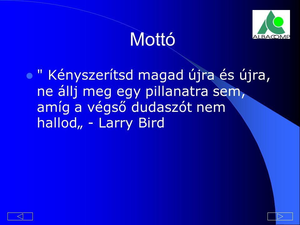 """Mottó Kényszerítsd magad újra és újra, ne állj meg egy pillanatra sem, amíg a végső dudaszót nem hallod"""" - Larry Bird."""