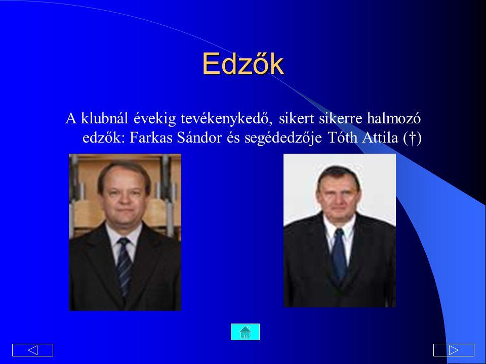 Edzők A klubnál évekig tevékenykedő, sikert sikerre halmozó edzők: Farkas Sándor és segédedzője Tóth Attila (†)
