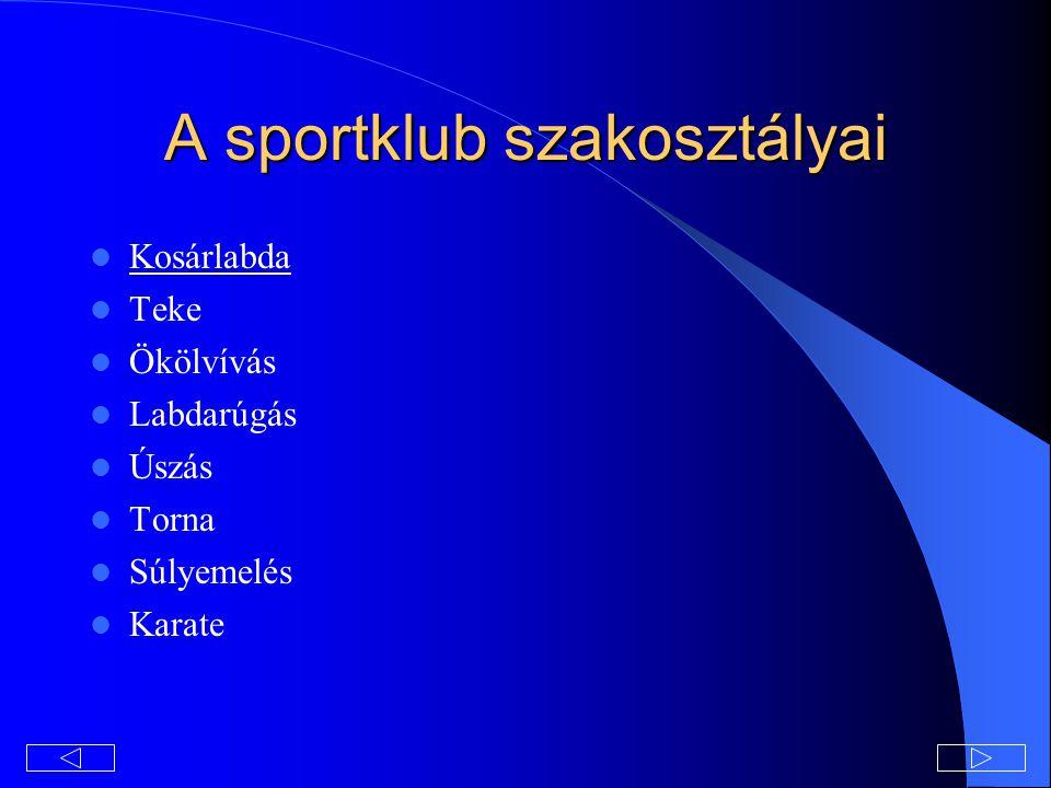 A sportklub szakosztályai