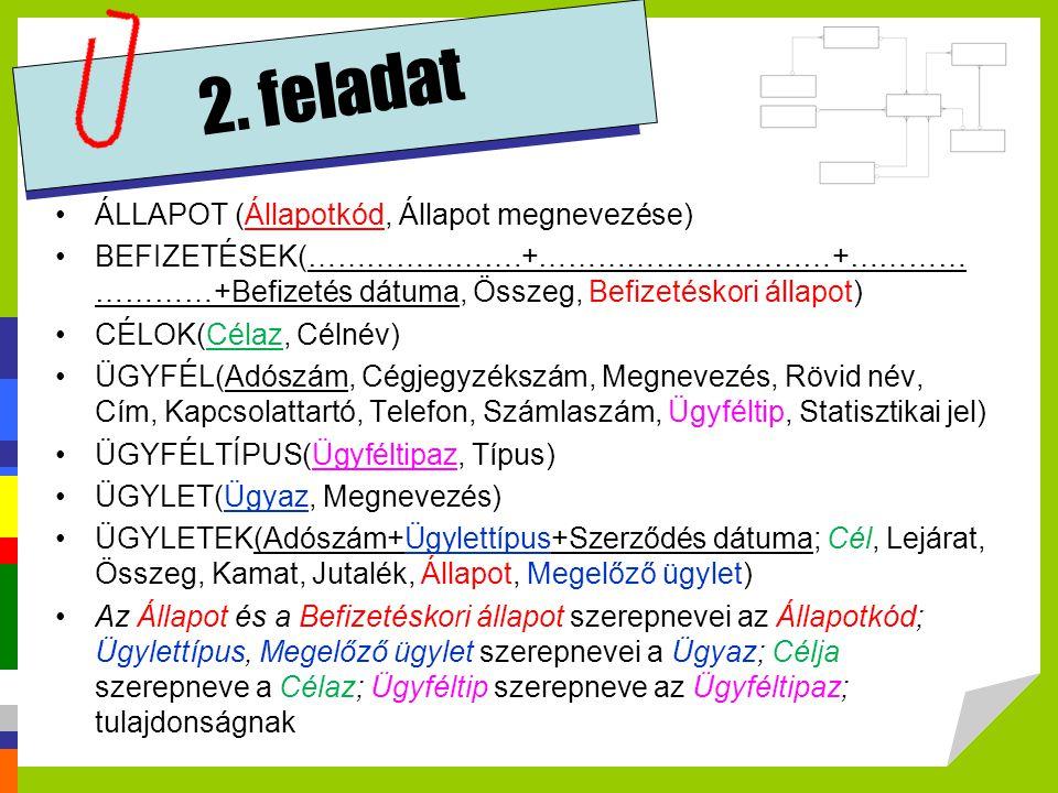 2. feladat ÁLLAPOT (Állapotkód, Állapot megnevezése)