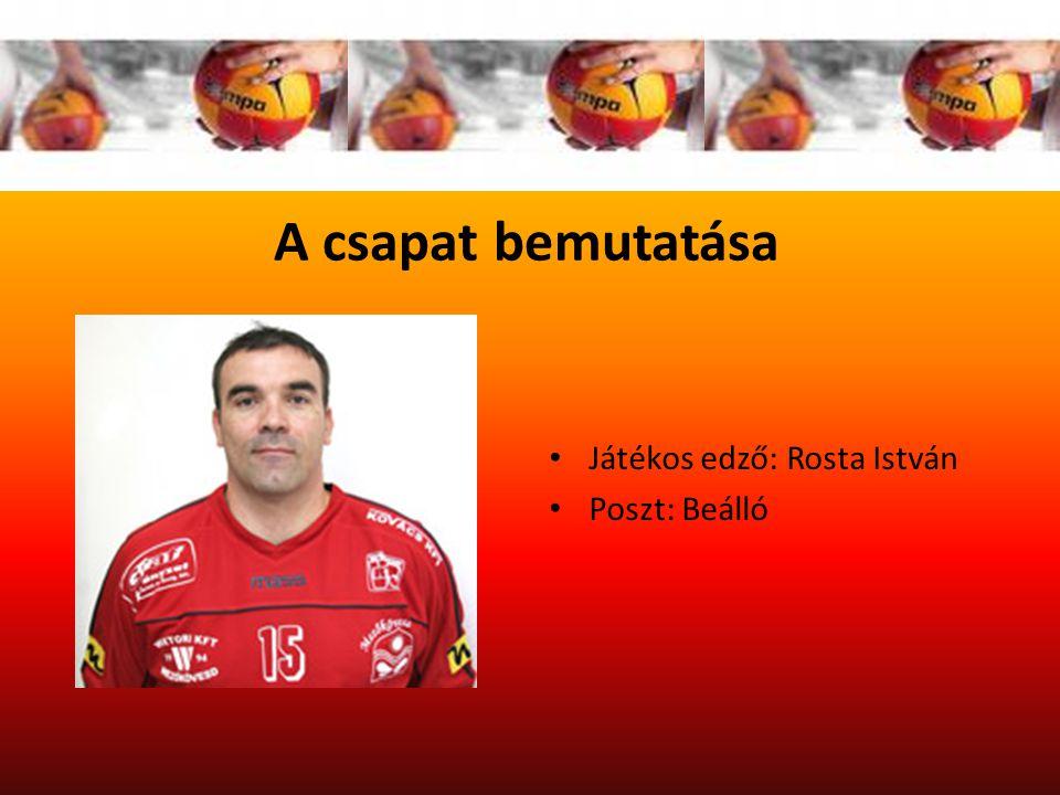 A csapat bemutatása Játékos edző: Rosta István Poszt: Beálló