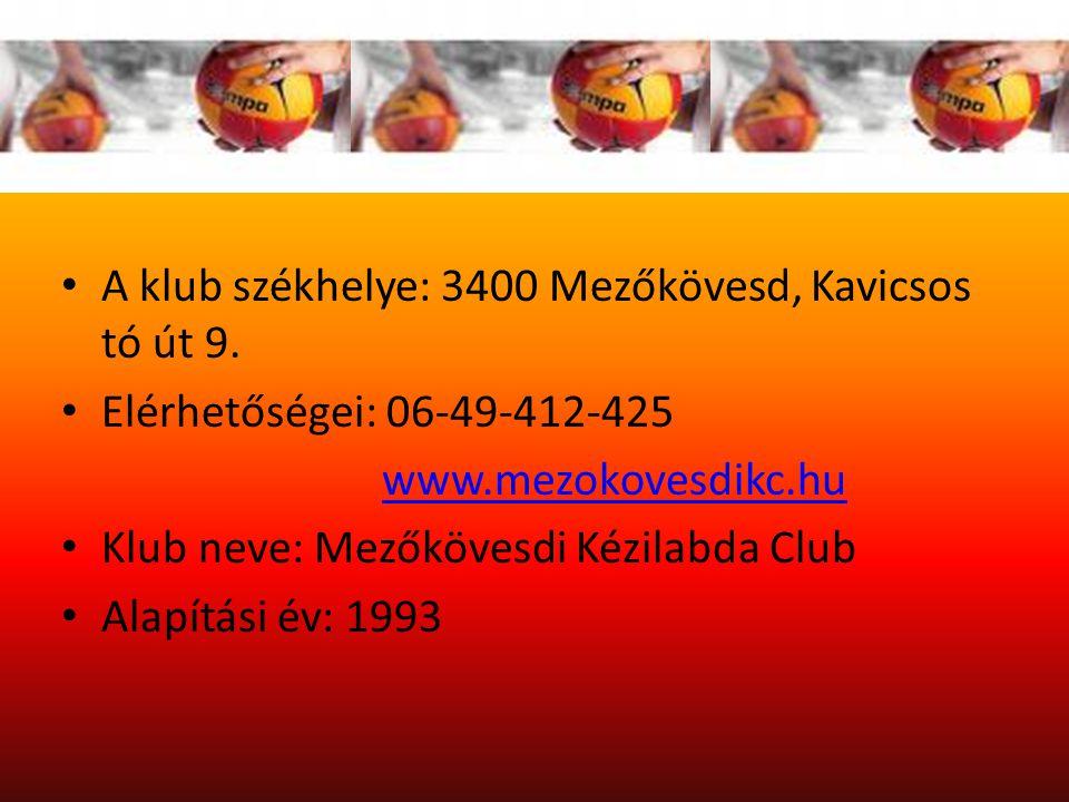 Szervezeti felépítés A klub székhelye: 3400 Mezőkövesd, Kavicsos tó út 9. Elérhetőségei: 06-49-412-425.
