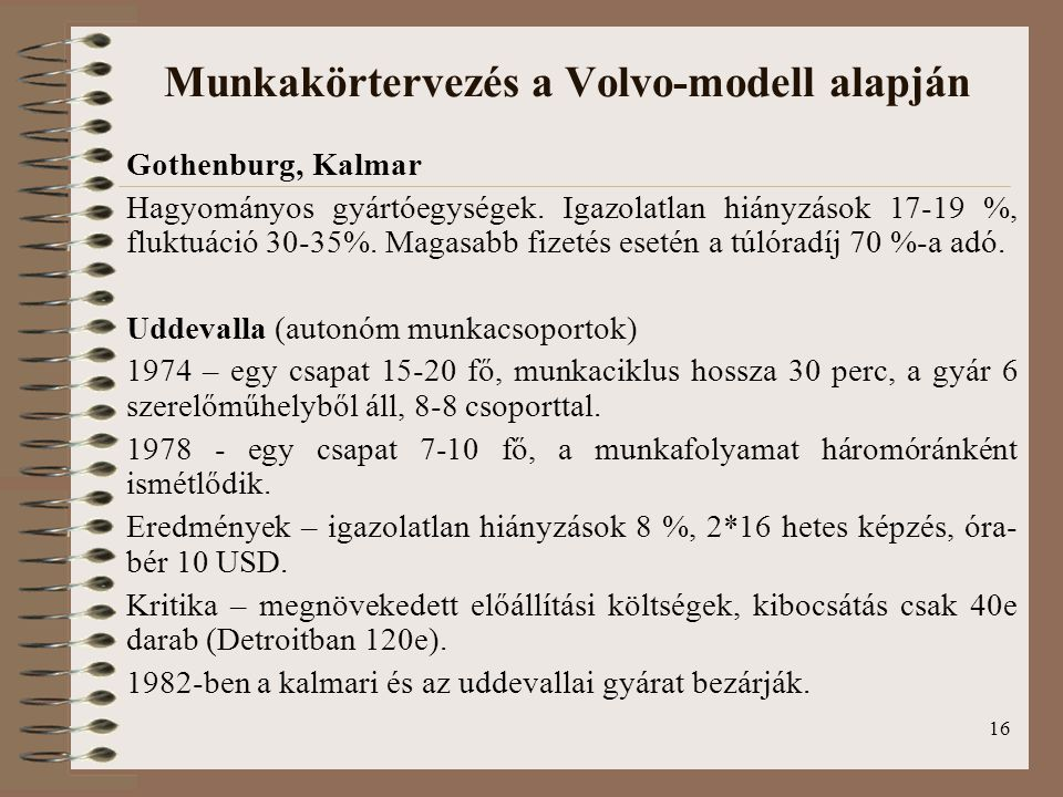 Munkakörtervezés a Volvo-modell alapján