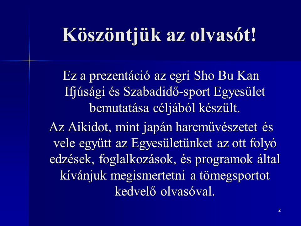 Köszöntjük az olvasót! Ez a prezentáció az egri Sho Bu Kan Ifjúsági és Szabadidő-sport Egyesület bemutatása céljából készült.
