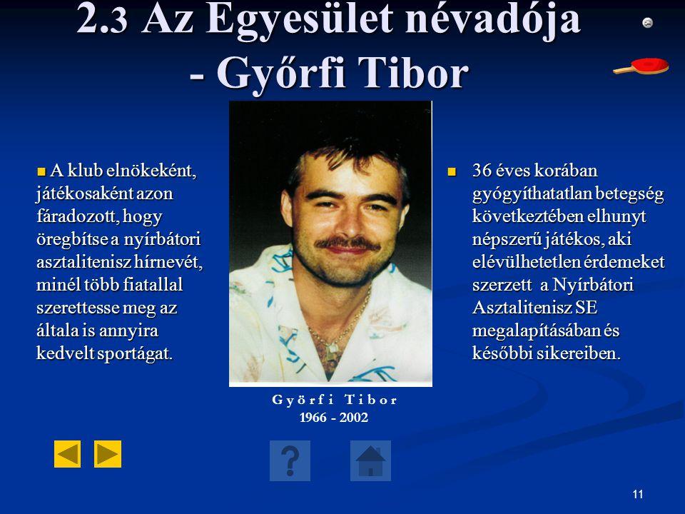 2.3 Az Egyesület névadója - Győrfi Tibor