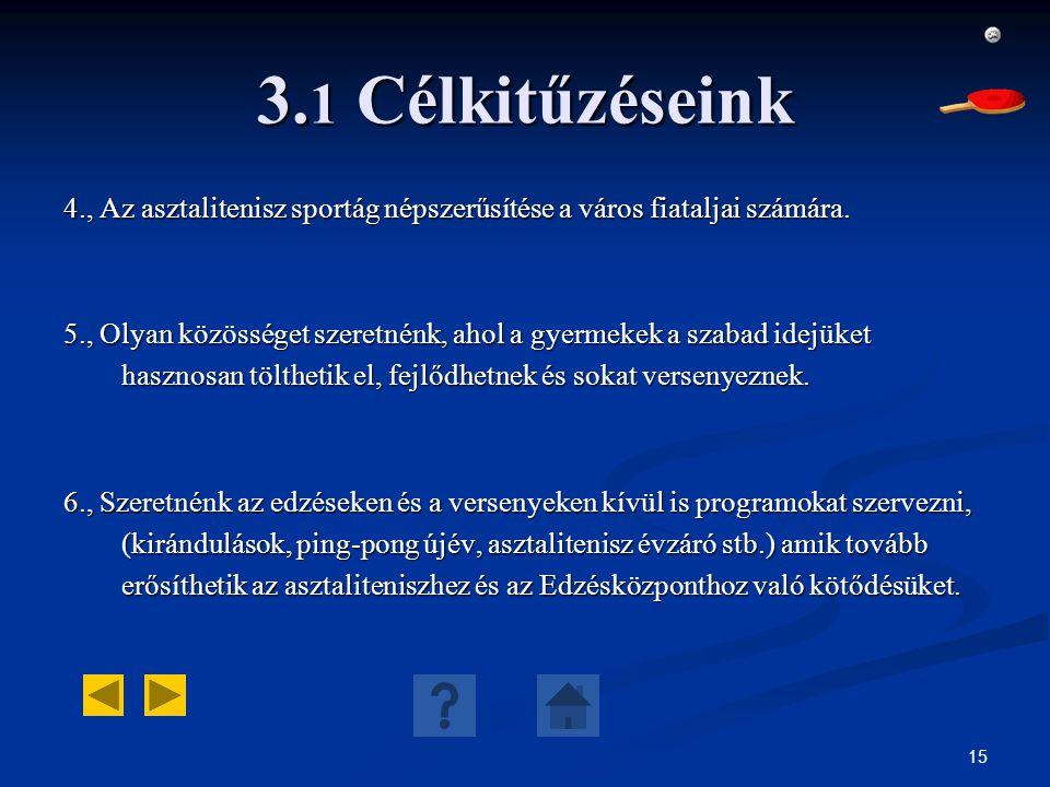 3.1 Célkitűzéseink 4., Az asztalitenisz sportág népszerűsítése a város fiataljai számára.