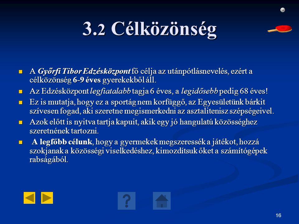 3.2 Célközönség A Győrfi Tibor Edzésközpont fő célja az utánpótlásnevelés, ezért a célközönség 6-9 éves gyerekekből áll.
