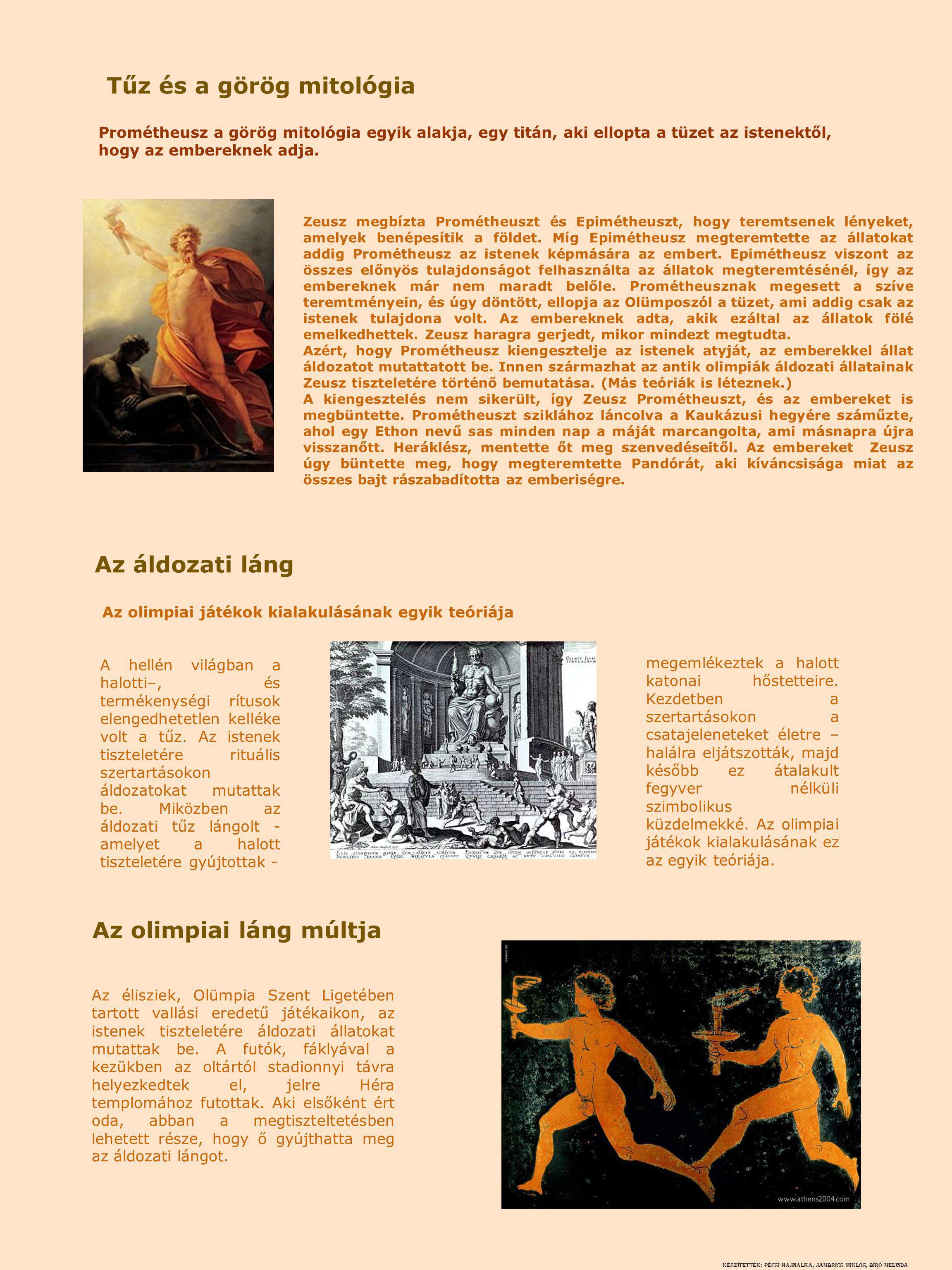 Tűz és a görög mitológia Az olimpiai láng múltja