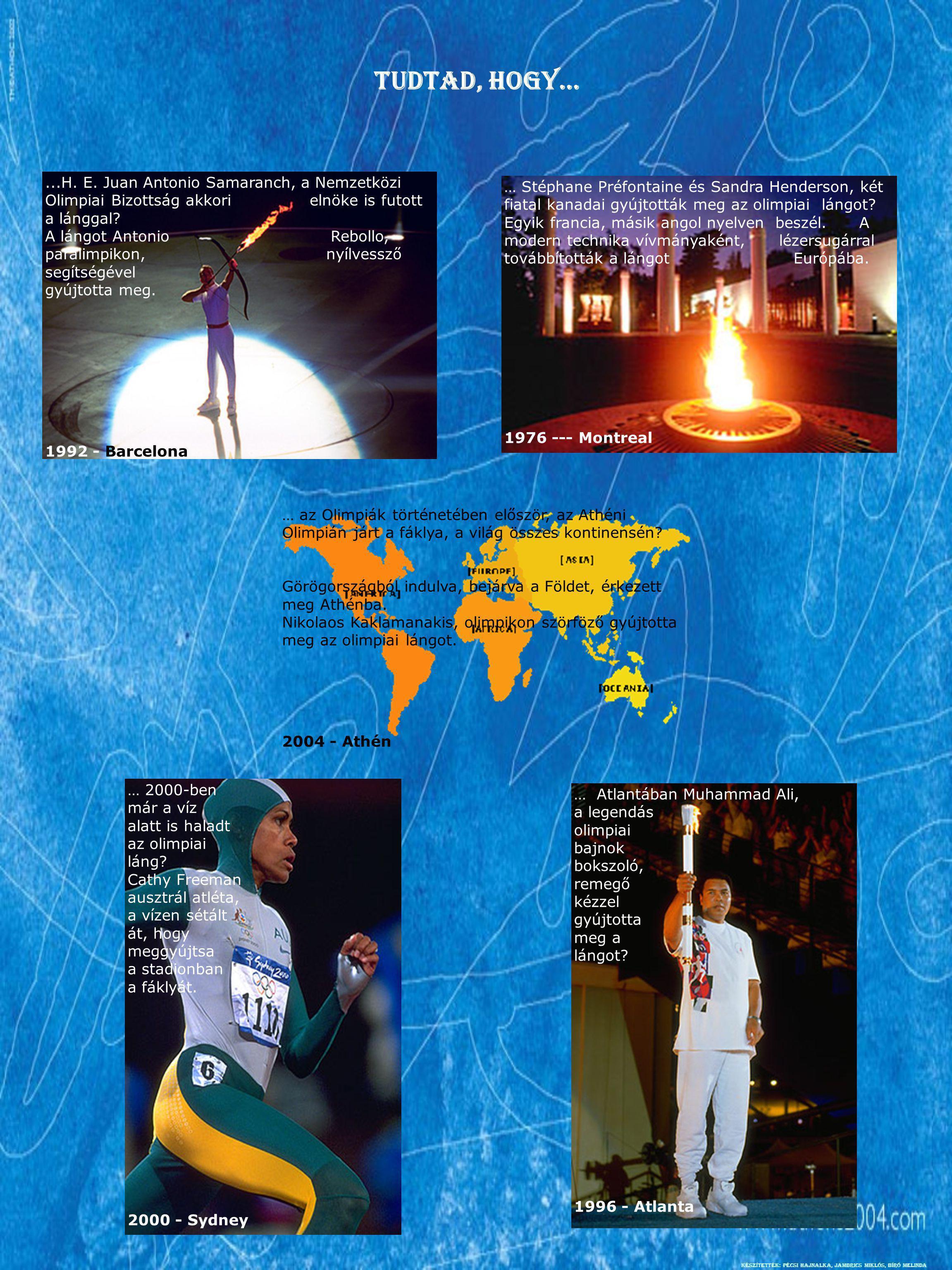Tudtad, hogy… ...H. E. Juan Antonio Samaranch, a Nemzetközi Olimpiai Bizottság akkori elnöke is futott a lánggal