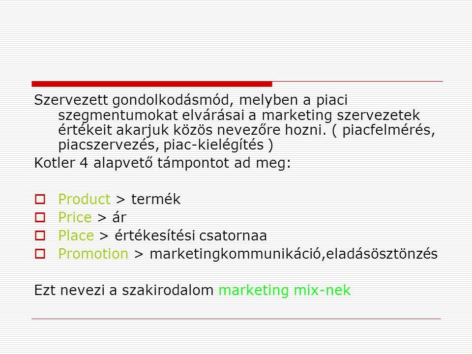 Szervezett gondolkodásmód, melyben a piaci szegmentumokat elvárásai a marketing szervezetek értékeit akarjuk közös nevezőre hozni. ( piacfelmérés, piacszervezés, piac-kielégítés )