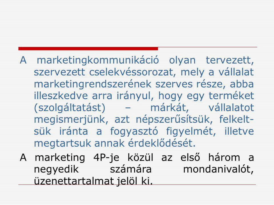 A marketingkommunikáció olyan tervezett, szervezett cselekvéssorozat, mely a vállalat marketingrendszerének szerves része, abba illeszkedve arra irányul, hogy egy terméket (szolgáltatást) – márkát, vállalatot megismerjünk, azt népszerűsítsük, felkelt-sük iránta a fogyasztó figyelmét, illetve megtartsuk annak érdeklődését.