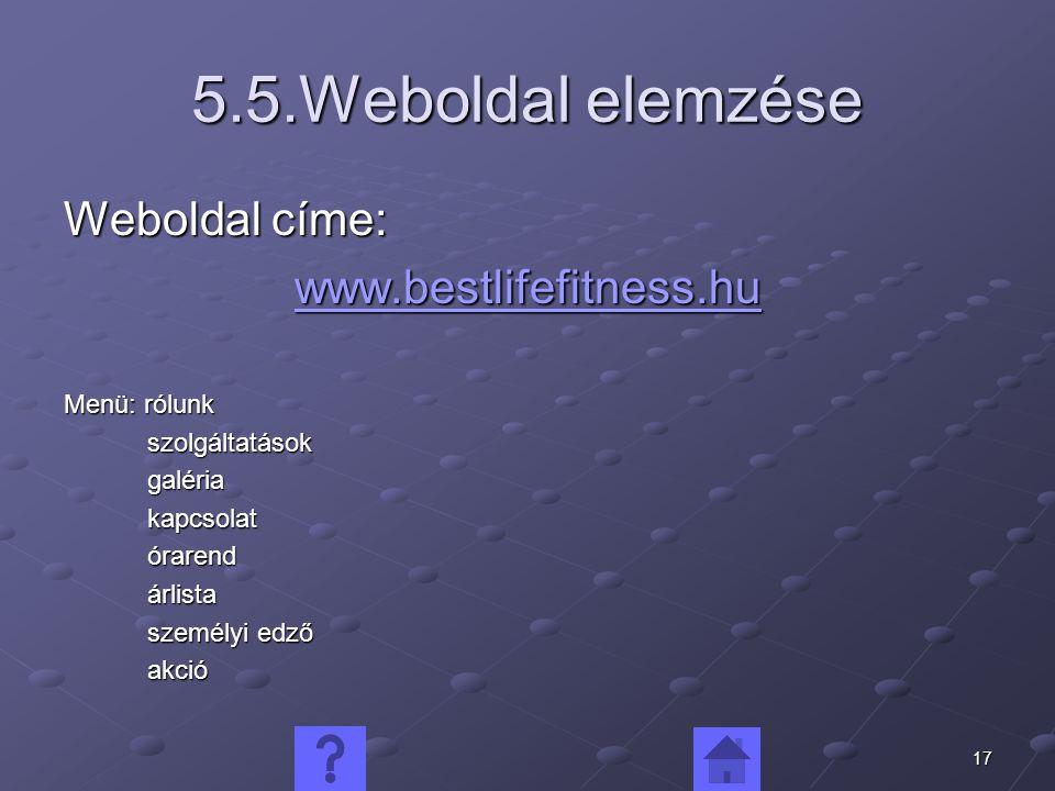 5.5.Weboldal elemzése Weboldal címe: www.bestlifefitness.hu