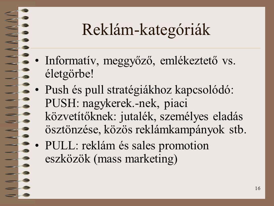 Reklám-kategóriák Informatív, meggyőző, emlékeztető vs. életgörbe!