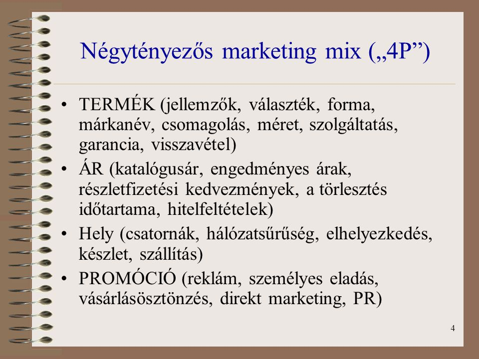 "Négytényezős marketing mix (""4P )"