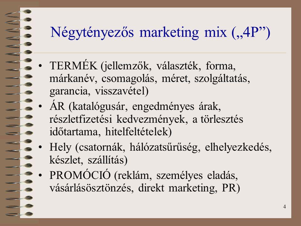 """Négytényezős marketing mix (""""4P )"""