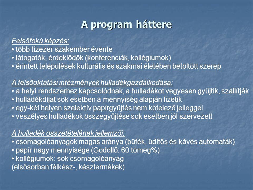 A program háttere Felsőfokú képzés: több tízezer szakember évente