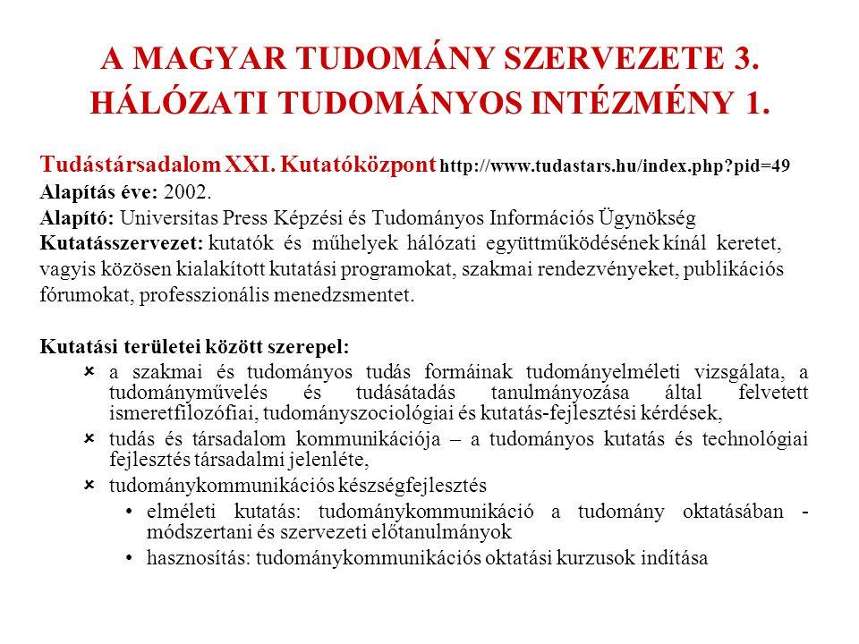 A MAGYAR TUDOMÁNY SZERVEZETE 3. HÁLÓZATI TUDOMÁNYOS INTÉZMÉNY 1.
