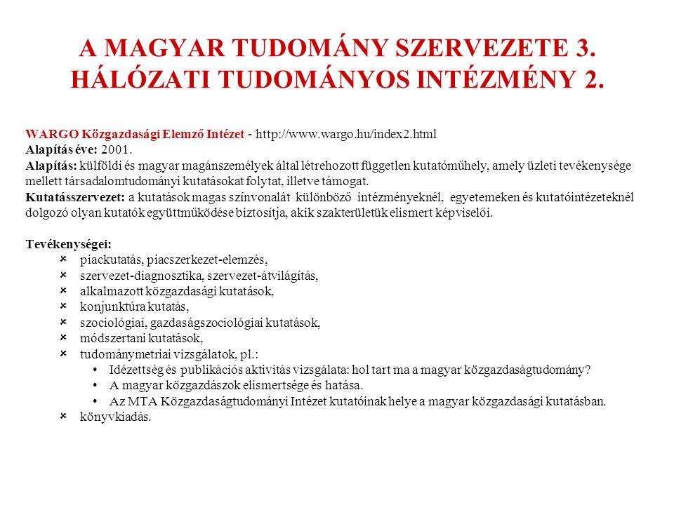 A MAGYAR TUDOMÁNY SZERVEZETE 3. HÁLÓZATI TUDOMÁNYOS INTÉZMÉNY 2.