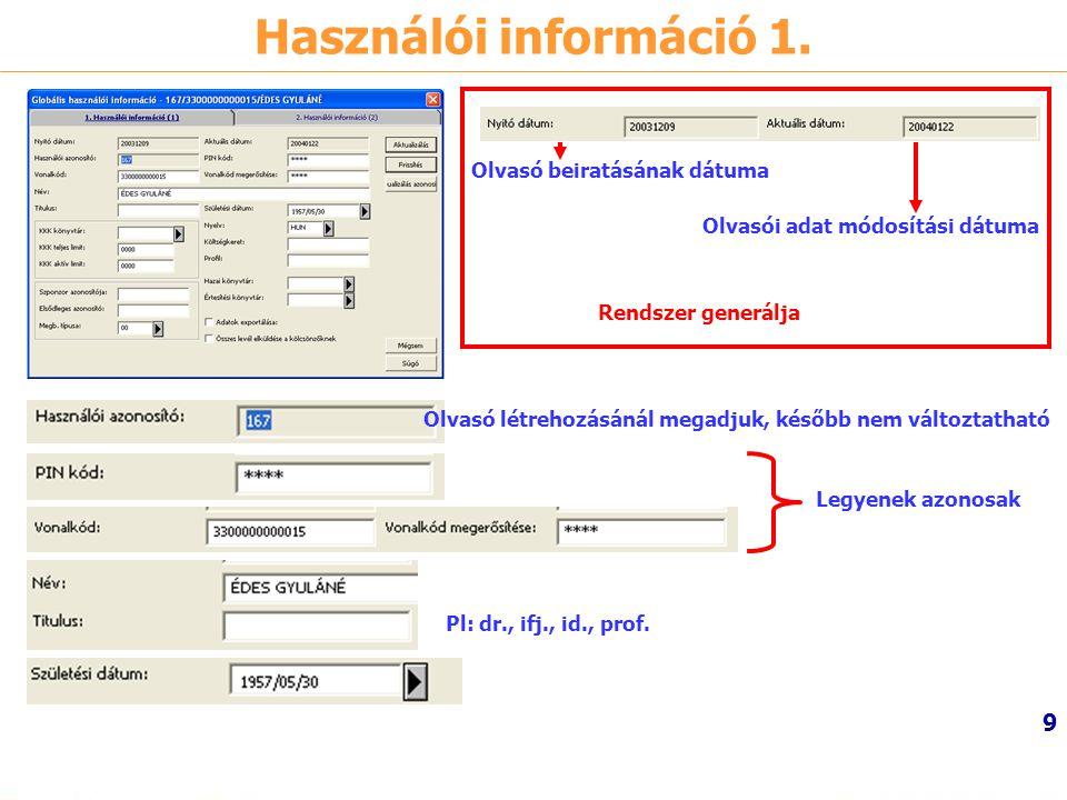 Használói információ 1. Olvasó beiratásának dátuma