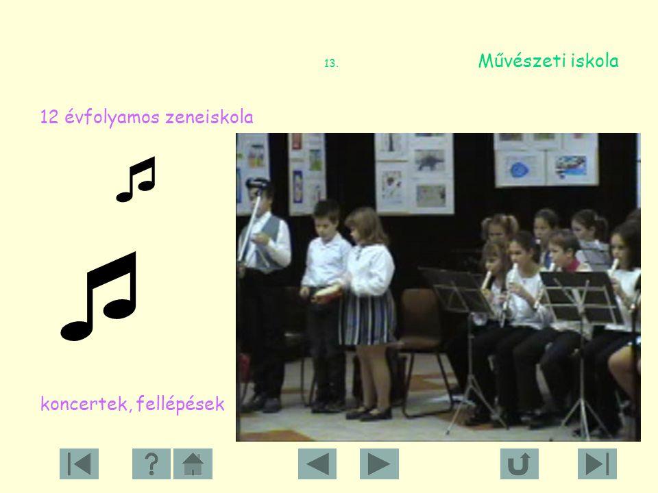 13. Művészeti iskola 12 évfolyamos zeneiskola.