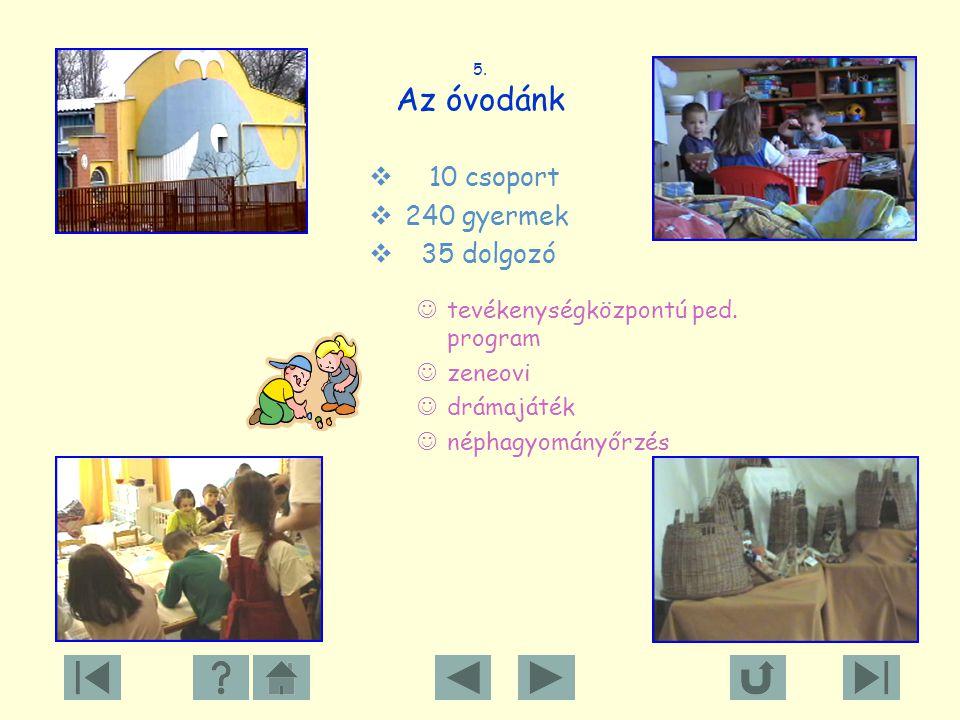 10 csoport 240 gyermek 35 dolgozó tevékenységközpontú ped. program
